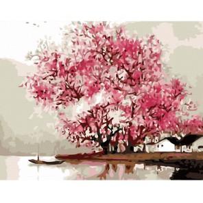 Розовое дерево Раскраска (картина) по номерам акриловыми красками на холсте Menglei