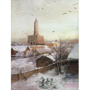 Сухарева башня ( репродукция Алексея Саврасова) Раскраска (картина) по номерам на холсте Molly