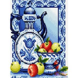 Чайник в стиле гжель Алмазная вышивка (мозаика) Molly
