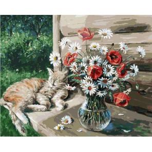 Дачная жизнь кота Василия Раскраска ( картина ) по номерам акриловыми красками на холсте Белоснежка