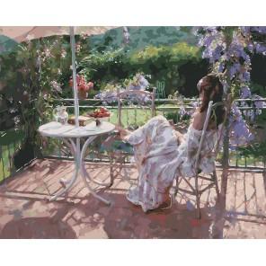Утро на террасе Раскраска ( картина ) по номерам акриловыми красками на холсте Белоснежка