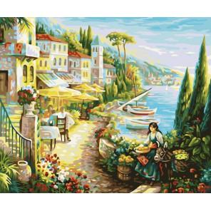 Итальянский городок Раскраска ( картина ) по номерам акриловыми красками на холсте Белоснежка