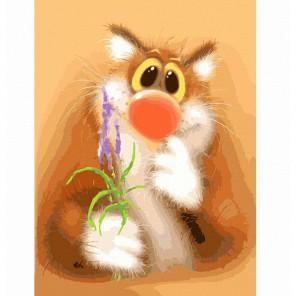 Обаятельный котик Раскраска ( картина ) по номерам акриловыми красками на холсте Белоснежка