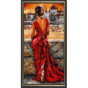 Девушка в вечернем платье Алмазная частичная вышивка (мозаика) Color Kit