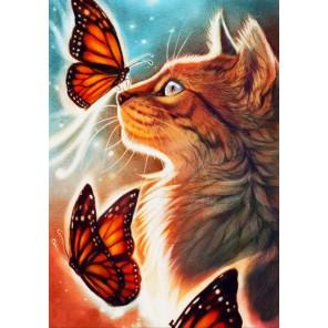 Кошка с бабочками Алмазная частичная вышивка (мозаика) Color Kit