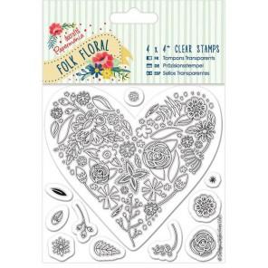 Сердце Folk Floral Штампы для скрапбукинга, кардмейкинга Docrafts