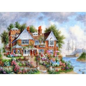 Дом с цветами Раскраска (картина) по номерам акриловыми красками на холсте Menglei