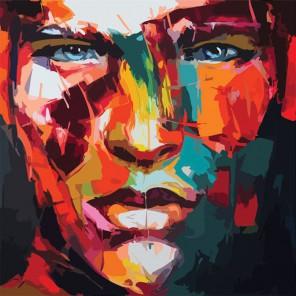 Мужской абстрактный портрет Раскраска по номерам акриловыми красками на холсте Color Kit