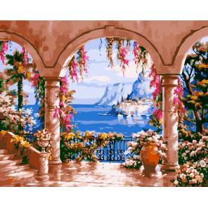 Терраса с видом на залив Раскраска ( картина ) по номерам на холсте Iteso