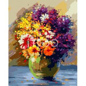 Яркий букет Раскраска ( картина ) по номерам акриловыми красками на холсте Iteso