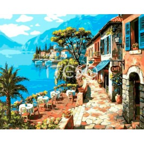 Прибрежное кафе Раскраска ( картина ) по номерам акриловыми красками на холсте Iteso