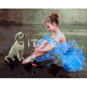Маленькая балерина Раскраска ( картина ) по номерам акриловыми красками на холсте Iteso