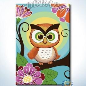 Совушка-сова Раскраска ( картина ) по номерам акриловыми красками на холсте Hobbart