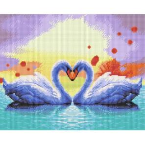 Белые лебеди Алмазная вышивка (мозаика) стразами Белоснежка