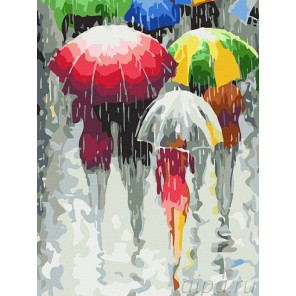 Зонтики Раскраска по номерам акриловыми красками на холсте Color Kit