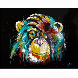 Радужная обезьяна Раскраска (картина) по номерам акриловыми красками на холсте Menglei