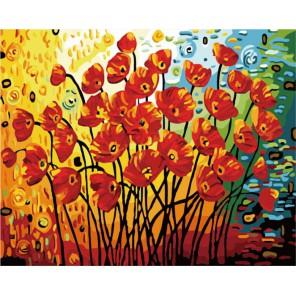 Поле маков Раскраска (картина) по номерам акриловыми красками на холсте Menglei