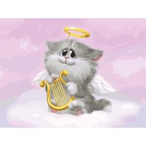 Котёнок-ангелочек Раскраска ( картина ) по номерам акриловыми красками на холсте Белоснежка