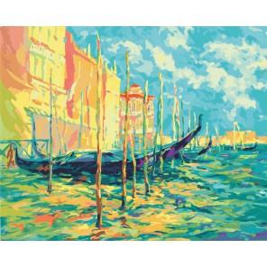 Стоянка гондол. Венеция Раскраска ( картина ) по номерам акриловыми красками на холсте Белоснежка  | Картины по номерам