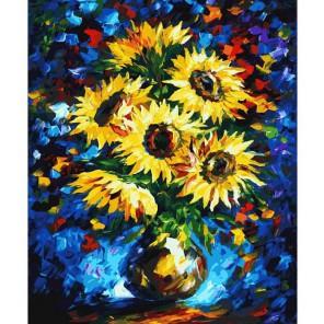 Ночные подсолнухи Раскраска ( картина ) по номерам акриловыми красками на холсте Белоснежка | Купить картины по номерам