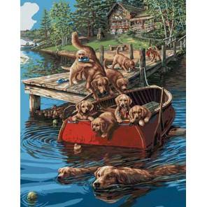 Плавание по собачьи (художник Джеймс Мегер) Раскраска картина по номерам акриловыми красками Plaid