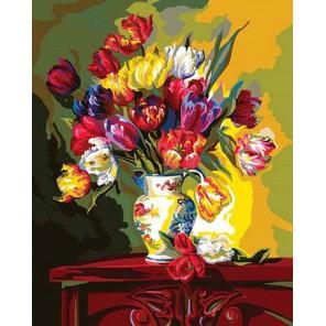 Тюльпаны (художник Фран Ди Джакомо) Раскраска картина по номерам акриловыми красками Plaid