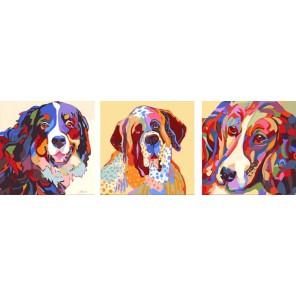 Три товарища Триптих Раскраска по номерам акриловыми красками на холсте Color Kit | Картины триптих по номерам купить