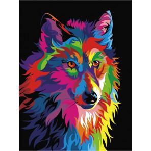 Волк поп-арт Раскраска по номерам акриловыми красками на холсте Menglei