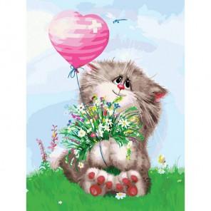 Кот с букетом Раскраска картина по номерам акриловыми красками на картоне Белоснежка