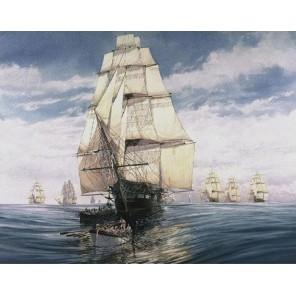 Парусник (репродукция Айвазовского) Раскраска картина по номерам акриловыми красками на холсте Molly