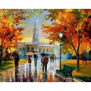Прогулка в Октябрьском парке (художник Леонид Афремов) Раскраска картина по номерам на холсте Molly