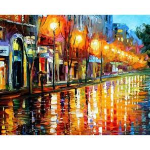 Отражения Ночного города (художник Леонид Алферов) Раскраска картина по номерам акриловыми красками на холсте Molly