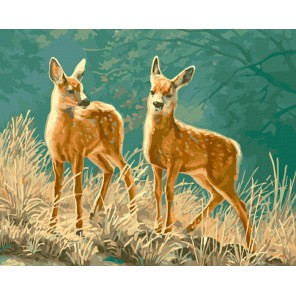 Пятнистые оленята Раскраска ( картина ) по номерам акриловыми красками на холсте Iteso