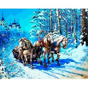 Русская тройка Раскраска ( картина ) по номерам акриловыми красками на холсте Iteso