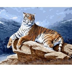 Тигр на рассвете Раскраска ( картина ) по номерам акриловыми красками на холсте Iteso