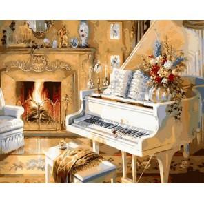 Белоснежный рояль Раскраска ( картина ) по номерам акриловыми красками на холсте Iteso
