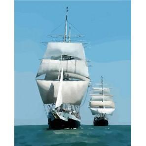 Корабли в море Раскраска картина по номерам акриловыми красками на холсте Русская живопись