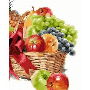 Корзинка с фруктами Раскраска картина по номерам акриловыми красками на холсте Русская живопись