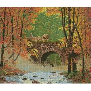 Осениий мост Алмазная вышивка (мозаика) с рамкой Цветной