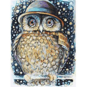 Сова в шляпе Раскраска картина по номерам акриловыми красками на картоне Белоснежка