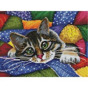 Котик в лоскутках Алмазная вышивка мозаика на подрамнике Белоснежка