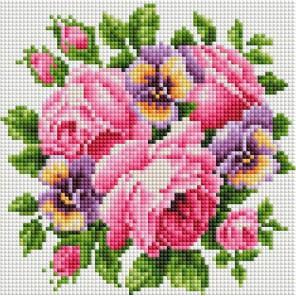 Розы и анютины глазки Алмазная вышивка мозаика на подрамнике Белоснежка