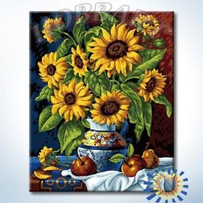 Натюрморт с подсолнухами Раскраска картина по номерам акриловыми красками на холсте Hobbart