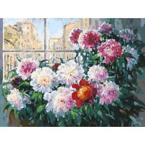 Свежесть утренних пионов Раскраска картина по номерам акриловыми красками на холсте Белоснежка
