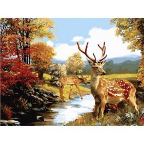 Олени Раскраска картина по номерам на холсте Белоснежка