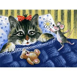 Кот и мышка Раскраска картина по номерам акриловыми красками на холсте Белоснежка