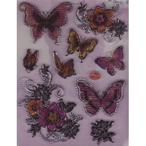 Акварельные бабочки и цветы Набор прозрачных штампов для скрапбукинга, кардмейкинга Viva Decor