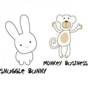 Зайчонок и обезьянка Термонаклейка Plaid