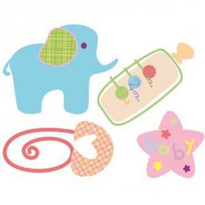 Слонёнок и бутылочка Термонаклейка Plaid