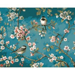 Птички на цветущей яблоне Раскраска (картина) по номерам акриловыми красками на холсте